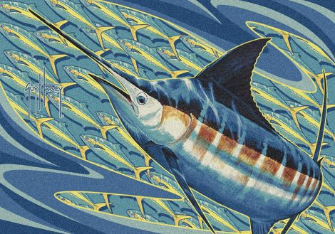 Blue Runner Guy Harvey Collection Area Rug