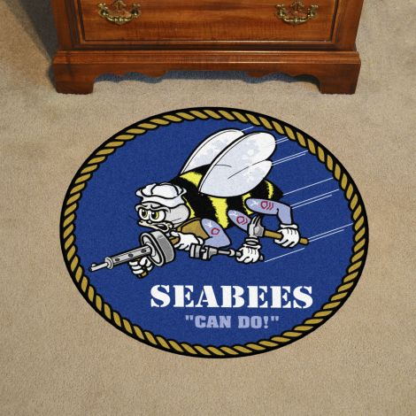 "U.S. Navy Seabees 44"" Round Mat"