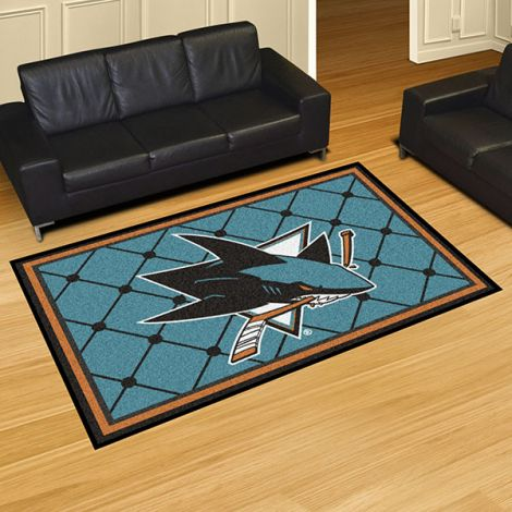 San Jose Sharks NHL 5x8 Plush Rug