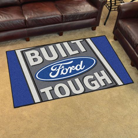 Built Ford Tough Blue Ford 4x6 Plush Rug