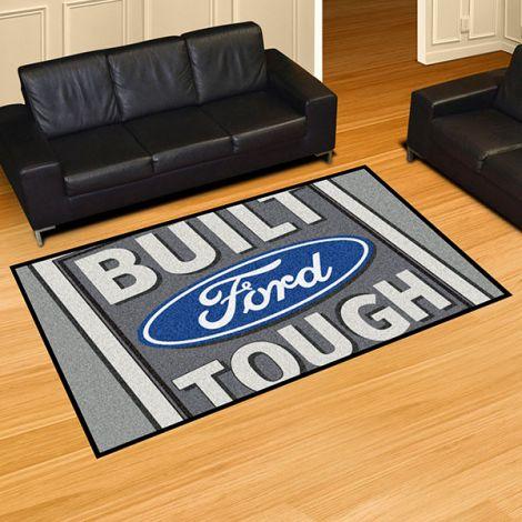 Built Ford Tough Grey Ford 5x8 Plush Rug