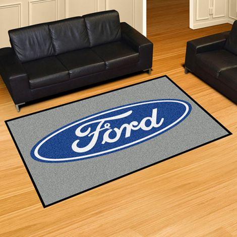 Ford Oval Grey Ford 5x8 Plush Rug