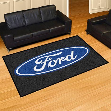 Ford Oval Black Ford 5x8 Plush Rug