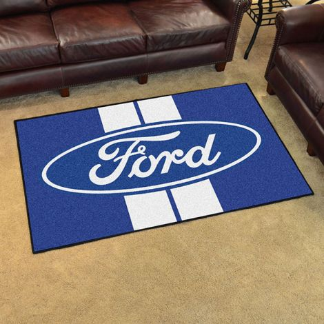Ford Oval with Stripes Blue Ford 4x6 Plush Rug