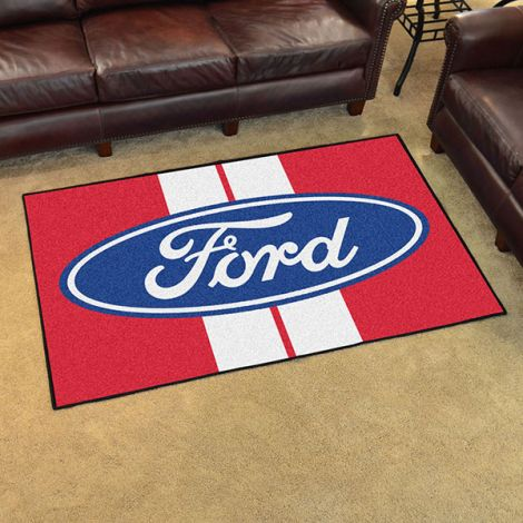 Ford Oval with Stripes Red Ford 4x6 Plush Rug
