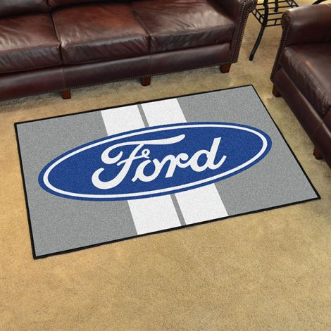 Ford Oval with Stripes Grey Ford 4x6 Plush Rug