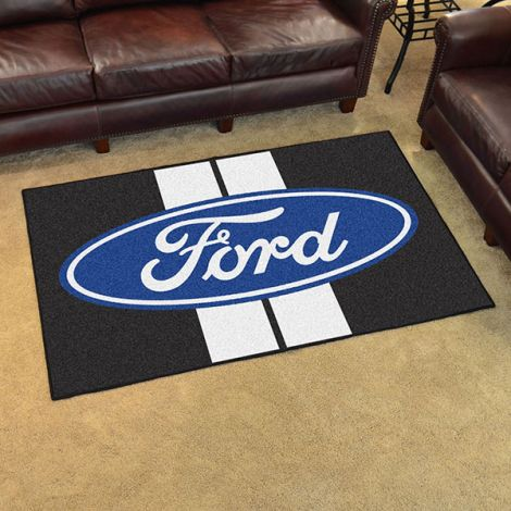 Ford Oval with Stripes Black Ford 4x6 Plush Rug