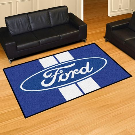 Ford Oval with Stripes Blue Ford 5x8 Plush Rug