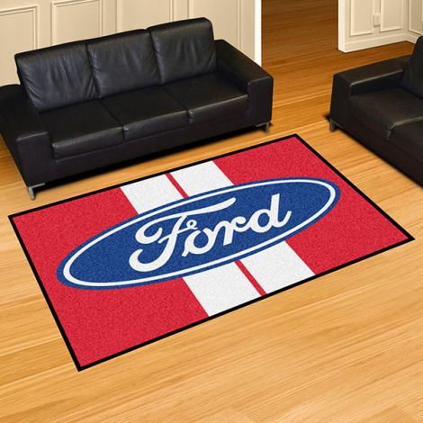 Ford Oval with Stripes Red Ford 5x8 Plush Rug