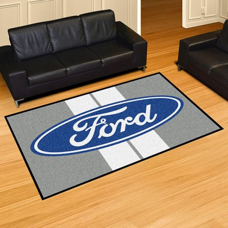 Ford Oval with Stripes Grey Ford 5x8 Plush Rug
