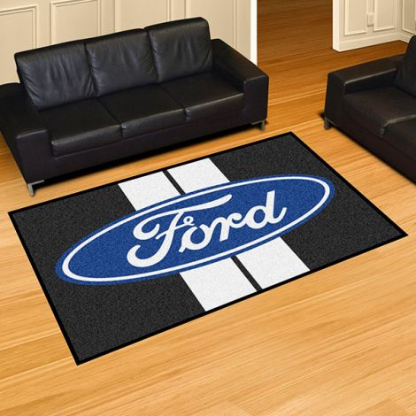 Ford Oval with Stripes Black Ford 5x8 Plush Rug
