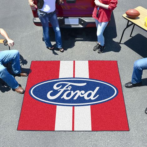 Ford Oval with Stripes Red Ford Tailgater Mat