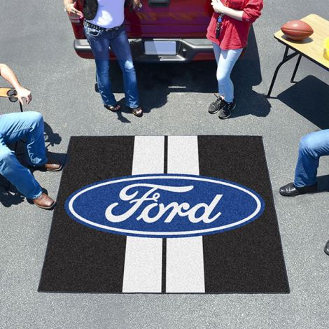 Ford Oval with Stripes Black Ford Tailgater Mat