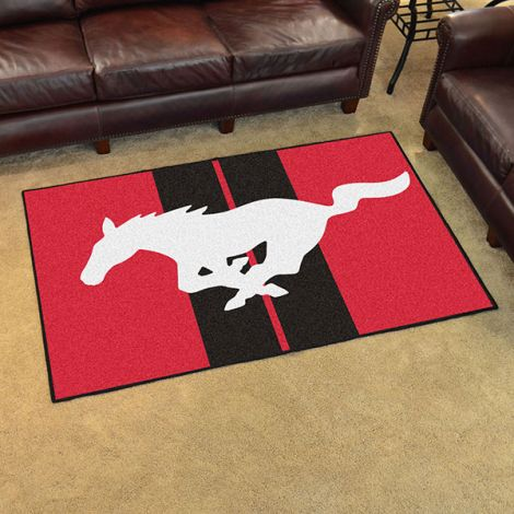 Mustang Horse Red Ford 4x6 Plush Rug
