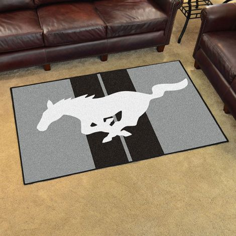 Mustang Horse Grey Ford 4x6 Plush Rug