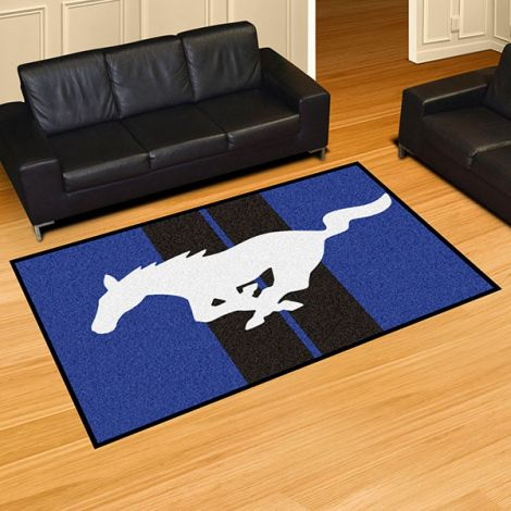 Mustang Horse Blue Ford 5x8 Plush Rug