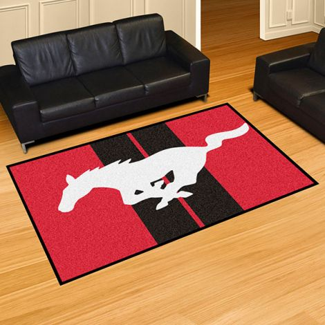 Mustang Horse Red Ford 5x8 Plush Rug