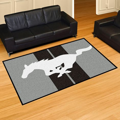 Mustang Horse Grey Ford 5x8 Plush Rug