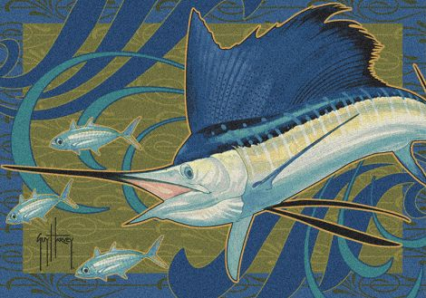 Sailfish Wave Guy Harvey Collection Area Rug