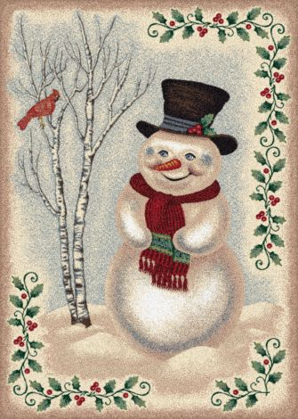 Snow Day Sandstone Holiday Collection Area Rug