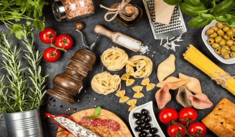 Italian Cuisine Ingredients Mat