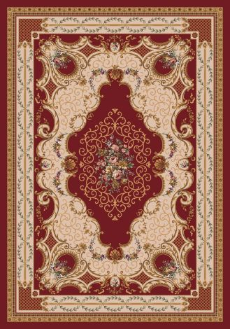 Valette Dark Red Kashmiran Pastiche Collection Area Rug