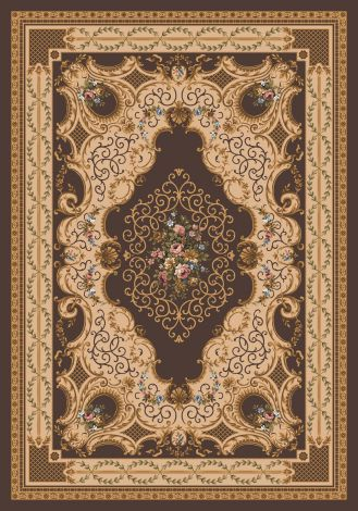Valette Brown Leather Kashmiran Pastiche Collection Area Rug