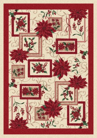 Winter Bouquet Poinsettia Holiday Collection Area Rug