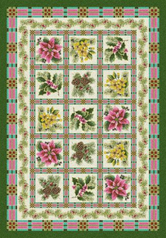 Yuletide Evergreen Holiday Collection Area Rug